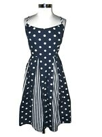 MODCLOTH Plus Size 28W Fit & Flare Dress Blue White Polka Dot Sleeveless Pockets