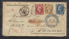 FRANCE COVER VOIE PRUSSE VARSOVIE 1862 TRICOLORE 1F10 NAPOLEON STAMP GC532