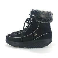 Skechers ShapeUps Lace Up Fur Lined Winter Boots Women Size 9.5