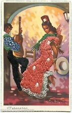 Postcard embroidered. siralt levin. peteneras flamenco.