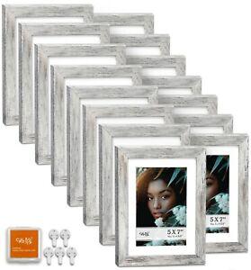 "CAVEPOP 5x7"" Mat 4x6"" Picture Frame 15 Pieces Set- Rustic Grey"