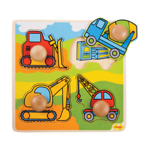 Bigjigs Toys Wooden Educational My First Peg Puzzle (Construction)