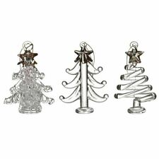 Set of 3 Glass Gold & Clear Christmas Tree Decorations – Ornaments Baubles