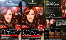 3 Boxes Schwarzkopf Color Ultime Flaming Reds 5.72 Auburn Permanent Hair Dye