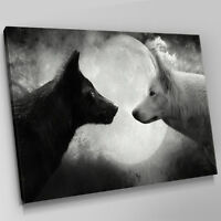 A465 White Black Arctic Wolves Moon Canvas Wall Art Animal Picture Large Print