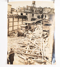 1940's Fireman Fire Photo Philadelphia 10 1/2 x 13 3/4 Collapsed Building V30