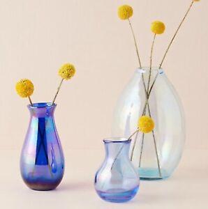 NWT Anthropologie Bauble Bud Vase Glass Blue