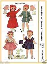 "243 Vintage Doll Clothes Wardrobe Pattern 14"" Patsy"