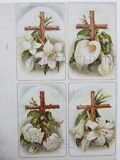 alte LITHOGRAPHIE Probedruck TRAUERKARTEN Kreuz Calla Rosen Lilien  um 1900