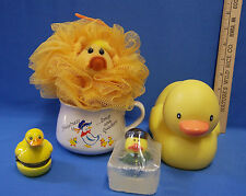 Vintage Yellow Duck Baby Child Bath Items Duck Trinket Box & Coffee Mug Lot 5
