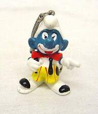 Vintage 1980's RARE Clown Smurf PVC Figure Key chain