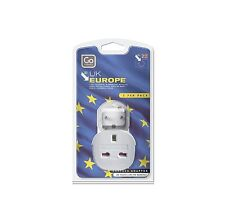 GO Travel UK EU 3 Pins Power Plug Adapter Adaptor Twin Pack Italy Spain Germany