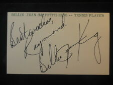 Billy Jean King Tennis Autographed Signed 3 x 5 Index Card