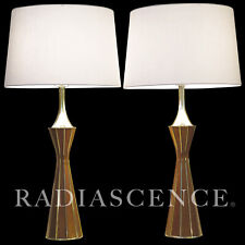 PAIR WESTWOOD TONY PAUL ATOMIC MODERN SPACE AGE BRASS ROSEWOOD TABLE LAMPS 50's
