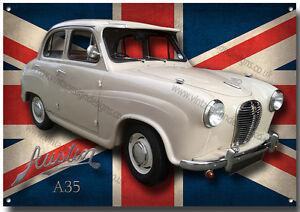 Austin A35 Metal Cartel Vintage Austin Coches, Clásico British Coches