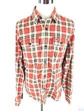 Hollister Mens Flannel Button Down Shirt XL Orange Plaid Long Sleeve Tartan Euc