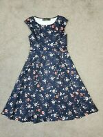 L17 - Lindy Bop Dress Size 12 Beautiful  Blue Red Floral 1950s Rockabilly Style