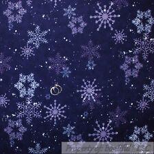 BonEful Fabric FQ Flannel Quilt VTG Purple Snow*Flake Tone Tonal Dot Xmas Flower