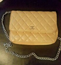 Vintage CHANEL Cream Quilted Caviar Leather WOC Clutch Bag