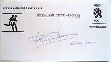 Bertha VAN DUYNE Brouwer Olympique 1952 200 M Médaille d'argent Ink autographe