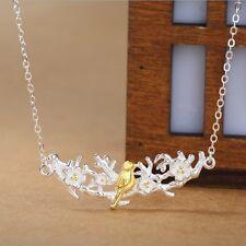 Silver Sakura Plum Blossom Bird Pendant Necklace Branch Chain Flower Gift Box S5