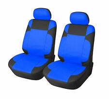 Car Seat Cover 2 Front PU Leather Compatible to Dodge 853 Black/Blue