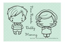 MOM & DAD-The Greeting Farm Rubber Stamp-Anya/Ian New Parents-Stamping Craft