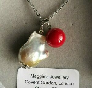 UK Huge Baroque Pearl Necklace Gift Boxed