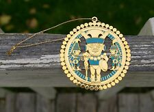 1993 UCLA FMCH Gold Tone Metal & Turquoise Ornament