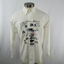 Bugatchi Uomo Men SIze Small White Embroidered  Button Front Shirt Long Sleeve