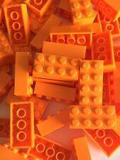 50 New Lego Bulk Lot 2x4 Orange Bricks Blocks 2 X 4