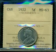 1922 Far Date Canada King George V, Nickel 5 Cent Piece, ICCS Certified MS-63