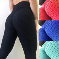 Womens High Waist Workout Leggings Scrunch Yoga Pants Slimming Ruched Trousers