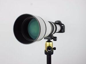 Kelda 650-1300mm F8.0-16 Telephoto Zoom Lens White + T-Mount for Canon Nikon etc