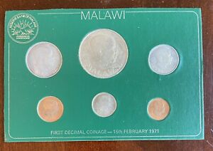 1971 Malawi 6 Coin UNC First Decimal Coinage Set 1 Kwacha, 1,2,5,10,20 Tambala