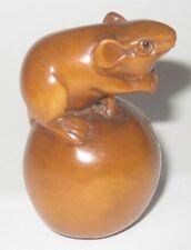 Lovely Boxwood Netsuke: Mouse Playing On Apple