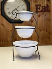 New ListingLongaberger Wrought Iron Mixing Bowls Stand Plus 3 Piece Ivory Mixing Bowl