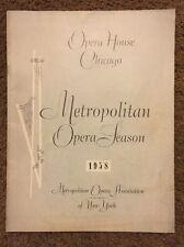 Opera House Chicago Program Metropolitan Opera Season 1958 Ads Coke