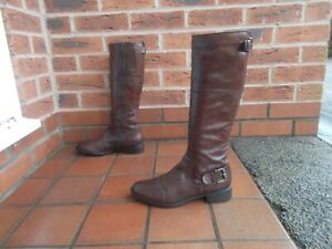 JONES BOOTMAKER Brown Leather Knee High Riding Style Boots * 6 uk *