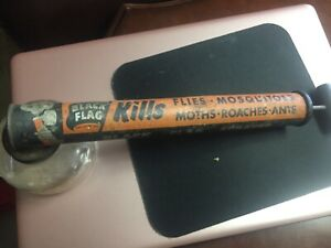 VINTAGE - BLACK FLAG BUG SPRAYER with CLEAN CLEAR GLASS - WOOD HANDLE