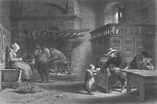 Brittany Country CHATEAU INN FIREPLACE TRAVELLERS ~ Old 1876 Art Print Engraving