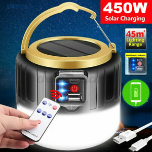 450W Solar Power Camping Lamp LED Torch Rechargeable Power Bank Tent Light  W