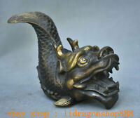 "6,4 ""Ancien Bronze Chinois Feng Shui Dragon Poisson Bête Statue Sculpture"