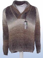 sisley uomo maglione marrone lana shawl taglia xl extra large manica lunga