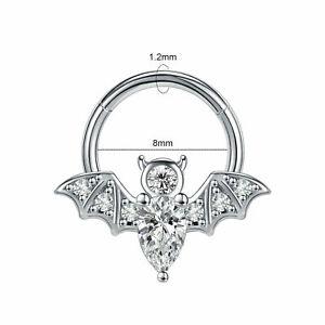1 PC Bat Wing Steel Nose Ring Septum Clicker Hoop Helix Daith Piercing P4I6