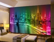 HQ Mural de Pared Ciudad de Nueva York Noche Horizonte Multicolor Foto Wallpaper Habitación 104