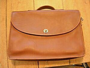 USA Coach Lexington 5265 Legacy Leather Brown Messenger Briefcase Attaché Bag