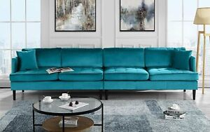 Mid-Century Modern Extra Large Velvet Sofa, 4 Seat Living Room Couch (blue)