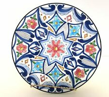 "CERAMAR SPAIN 10.5"" HANGING PLATE GAUDY DUTCH STYLE TUSCANY ITALY COBALT BLUE"