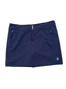 Jofit Womens Golf Tennis Skirt Skort Zip Snap Front Navy Blue Pockets Sz 14 GUC